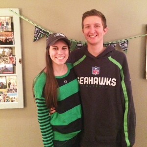 Cheering on the Seahawks as they played in the Super Bowl!
