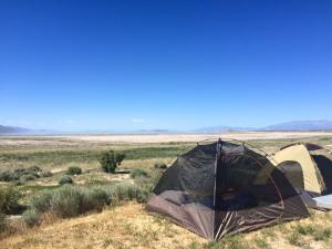 Our little set up at Bridger Bay Campground on Antelope Island