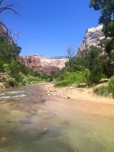 Swimming on the hike back to the Emerald Pools